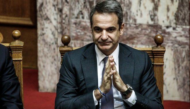 Ο πρωθυπουργός Κυριάκος Μητσοτάκης στη Βουλή