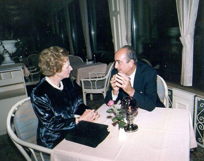 Συνάντηση Κ. Μητσοτάκη με την Πρωθυπουργό της Μ. Βρετανίας Margaret Thatcher στο περιθώριο του 3ου Συνέδριου της Διεθνούς Δημοκρατικής Ένωσης (IDU), 25/9/1987