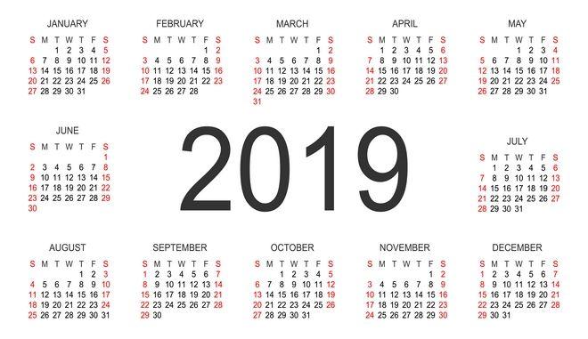 Ημερολόγιο του 2019