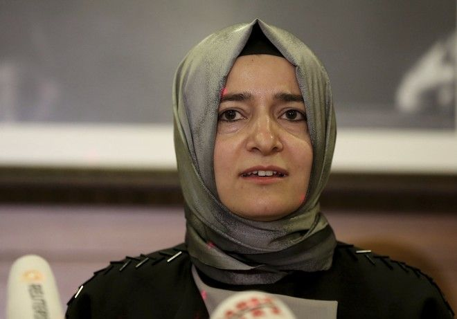 Fatma Betul Sayan Kaya, Turkey's Minister of Family Affairs, who was escorted back to the German border after a long standoff outside the Turkish consulate in Rotterdam, speaks to the media at Ataturk Airport after her return to Turkey, in Istanbul, Sunday, March 12, 2017. The escalating dispute between Turkey and the Netherlands spilled over into Sunday, with a Turkish minister unable to enter her consulate after the authorities there had already blocked a visit by the foreign minister, prompting Turkish President Recep Tayyip Erdogan to call the Dutch