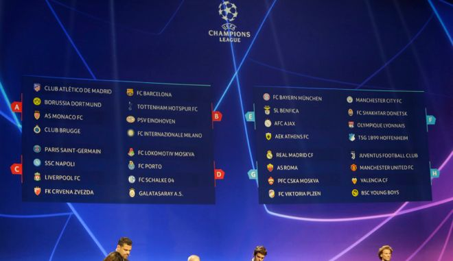 Φωτογραφία από την κλήρωση για το Champions League