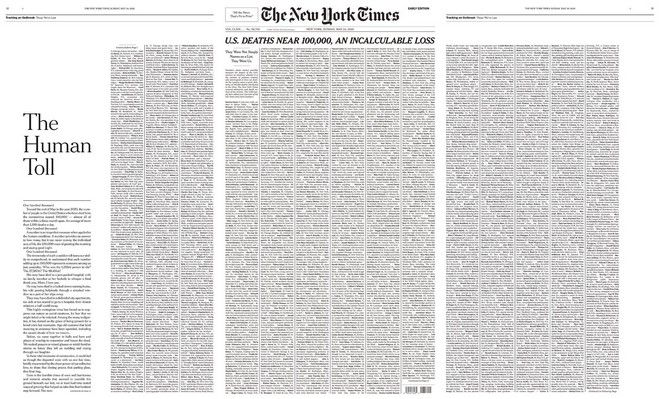 New York Times: Tο πρωτοσέλιδo για τα θύματα του κορονοϊού στις ΗΠΑ και οι αντιδράσεις