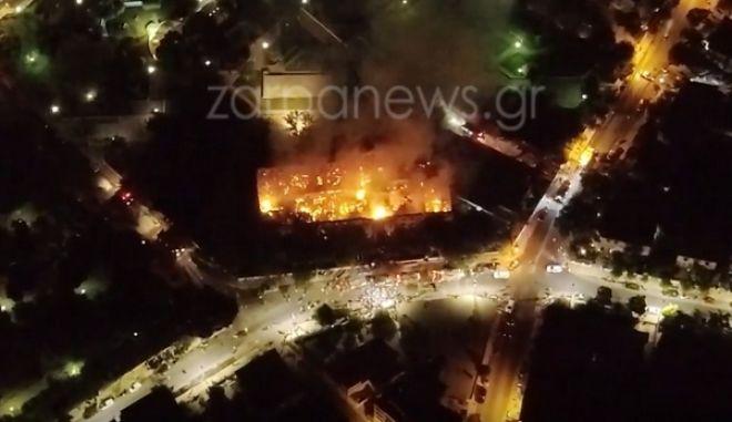 Χανιά: Κάηκε ολοσχερώς το Πολεμικό Μουσείο - Η καταστροφή από ψηλά