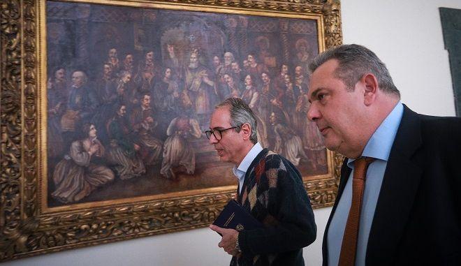 Ο υπουργός Άμυνας και πρόεδρος των Ανεξαρτήτων Ελλήνων Πάνος Καμμένος στην Βουλή την Παρασκευή 11 Ιανουαρίου 2018.