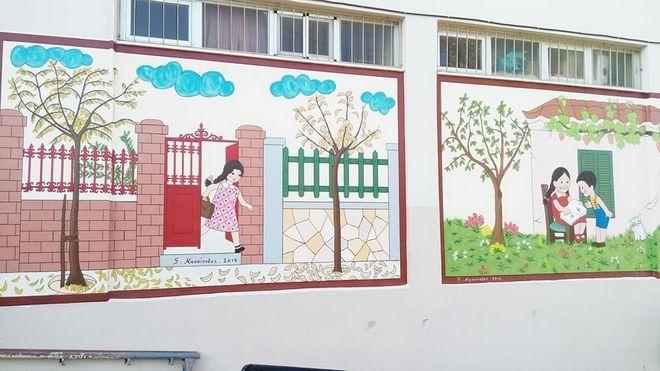 Ένας παππούς ζωγράφισε το αλφαβητάρι των παιδικών μας χρόνων σε σχολείο της Πάτρας