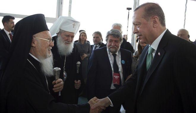 Συνάντηση Ερντογάν με τον Οικουμενικό Πατριάρχη Βαρθολομαίο