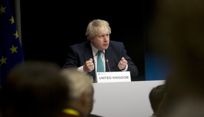 British Foreign Secretary Boris Johnson speaks during a media conference at an EU Syria conference at the Europa building in Brussels on Wednesday, April 5, 2017. The EU and other nations met Wednesday to discuss what will be needed to rebuild war-ravaged Syria. (AP Photo/Virginia Mayo)