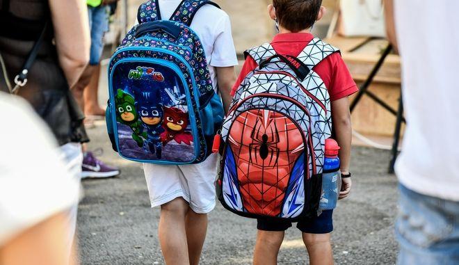 Στιγμιότυπο από την έναρξη του σχολικού έτους σε σχολείο της Πρέβεζας την Δευτέρα 14 Σεπτεμβρίου 2020. (EUROKINISSI/ΓΙΩΡΓΟΣ ΕΥΣΤΑΘΙΟΥ)
