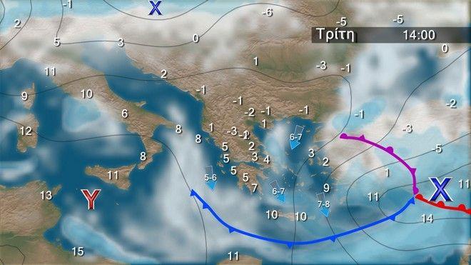 Ο καιρός στην Ελλάδα την Τρίτη