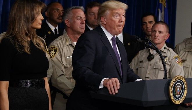 President Donald Trump speaks after meeting with first responders and private citizens that helped during the mass shooting, during a