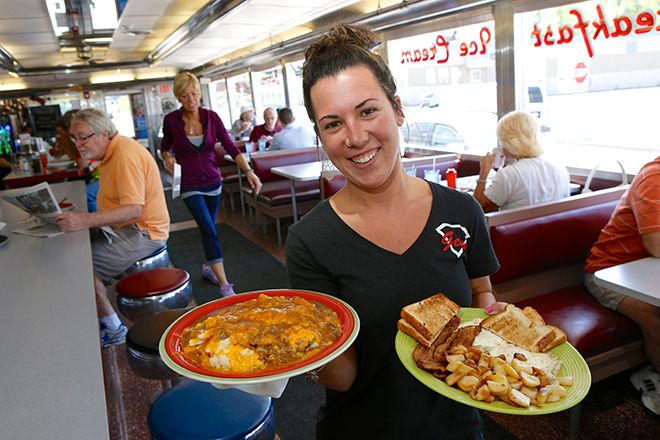 Gem Diner. Waitress Danielle with Shepards Pie and Bacon & Eggs.