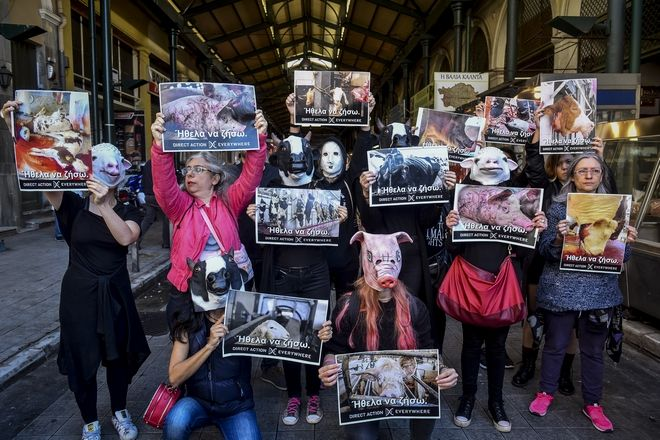 Παρέμβαση για τα ζώα στην κεντρική αγορά της Αθήνας από την οργάνωση Direct Action Everywhere, το Σάββατο 27 Οκτωβρίου 2018. (EUROKINISSI/ΤΑΤΙΑΝΑ ΜΠΟΛΑΡΗ)