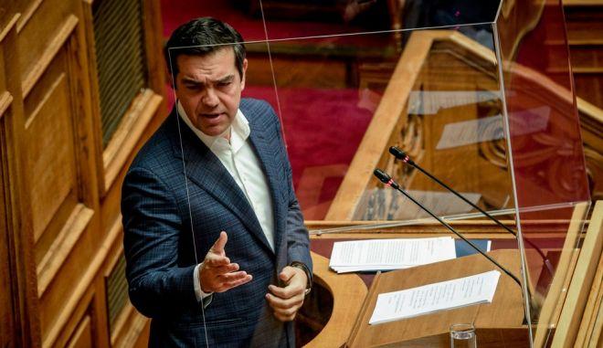 Ο Αλέξης Τσίπρας στη συζήτηση της Βουλής, 30η Απριλίου του 2020