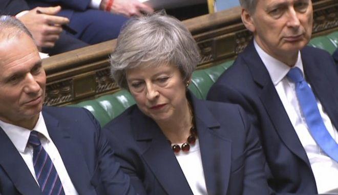 Η Βρετανίδα πρωθυπουργός Τερέζα Μέι στη Βουλή των Κοινοτήτων