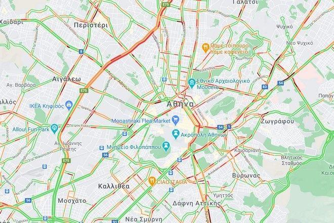Κίνηση στους δρόμους: Μποτιλιάρισμα στον Κηφισό μετά από απανωτά τροχαία