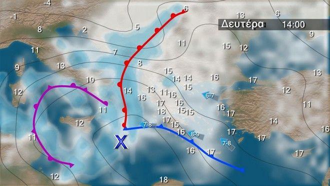 Ο καιρός στην Ελλάδα την Δευτέρα