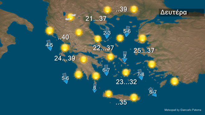 Θερμοκρασία σε υψηλά επίπεδα σε δυτικά και βόρεια - Μελτέμι 6-7 και τοπικά 8 μποφόρ στο Αιγαίο