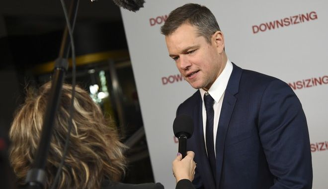 """Actor Matt Damon attends a special screening of """"Downsizing"""" at AMC Loews Lincoln Square on Monday, Dec. 11, 2017, in New York. (Photo by Evan Agostini/Invision/AP)"""