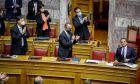 Ο Κυριάκος Μητσοτάκης και υπουργοί της κυβέρνησης