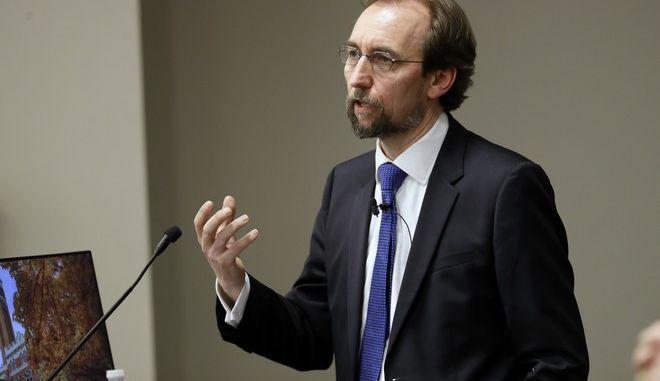 U.N. human rights chief Zeid Ra'ad al-Hussein speaks to Vanderbilt University School of Law students Wednesday, April 5, 2017, in Nashville, Tenn. (AP Photo/Mark Humphrey)