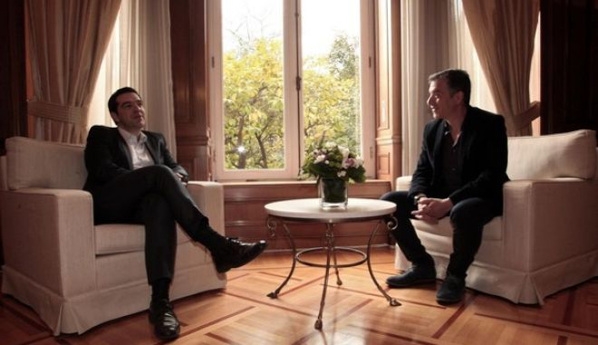 Greece's Prime Minister Alexis Tsipras meets the leader of To Potami political party, Stavros Theodorakis, at Maximos Mansion, in Athens, Greece on March 5, 2015. /                ,   5  2015.