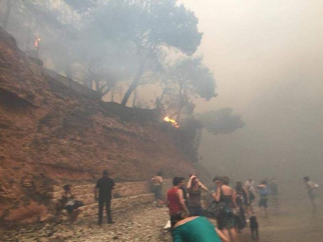 Εικόνες που συγκλονίζουν: Έπεφταν στη θάλασσα για να σωθούν από τη φωτιά