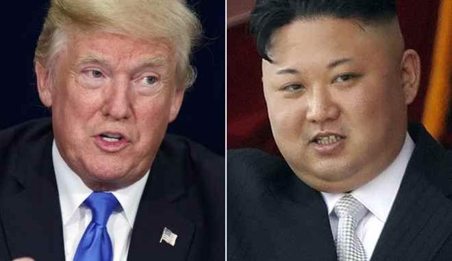 Αριστερά ο Αμερικανός πρόεδρος Ντόναλντ Τραμπ και δεξιά ο ηγέτης της Βορείου Κορέας Κιμ Γιονγκ Ουν
