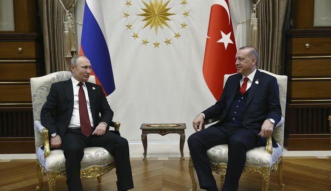 Ο  πρόεδρος της Τουρκίας Ρετζέπ Ταγίπ Ερντογάν και ο πρόεδρος της Ρωσίας Βλαντίμιρ Πούτιν