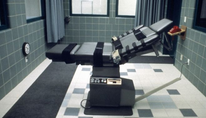 -UNDATED PHOTO - A table in the execution room at the U.S. federal prison in Terre Haute, Indiana, is pictured in this undated handout photo. [Timothy McVeigh, 33, is scheduled to die by lethal injection on May 16, 2001 at the federal prison in Terre Haute for the April 19, 1995 truck bombing of Murrah Federal Building in Oklahoma City that killed 168 and injured hundreds]