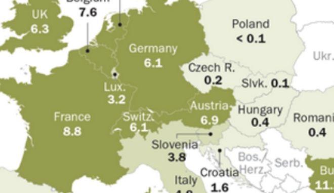 Χάρτης: Πόσοι μουσουλμάνοι (και που) ζουν στην Ευρώπη. Πόσοι είναι πλέον στην Ελλάδα