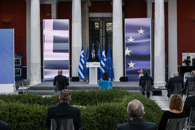 Ο Κυριάκος Μητσοτάκης στην εκδήλωση στο Ζάππειο για τα 40 χρόνια από την προσχώρηση της Ελλάδας στην ΕΕ