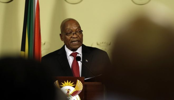 South African President Jacob Zuma addresses the nation and press at the government's Union Buildings in Pretoria, South Africa, Wednesday, Feb. 14, 2018. South Africa's President Jacob Zuma says he will resign 'with immediate effect'(AP Photo/Themba Hadebe)