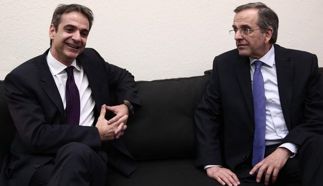 Meeting between the new elected president of New Democracy Kyriakos Mitsotakis, and Antonis Samaras , in Athens, on January 12th, 2016 /            .  12  2016.
