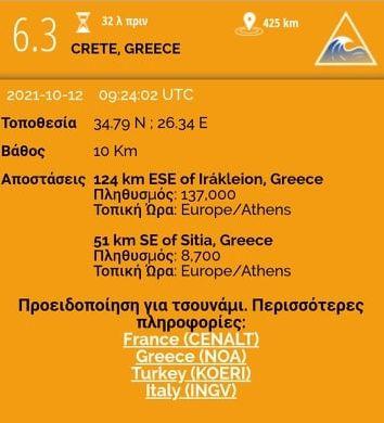 Σεισμός 6,3 ρίχτερ στη Κρήτη: Προειδοποίηση για τσουνάμι