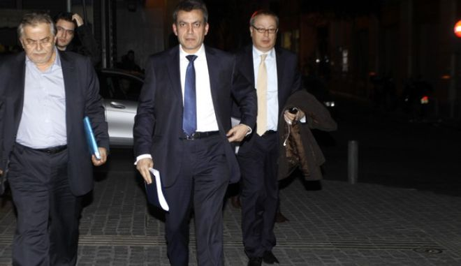 Στιγμιότυπο από την διευρυμένη υπουργική συνάντηση στο υπουργείο Οικονομικών με τους εκπροσώπους της τρόικας, την Δευτέρα 11 Μαρτίου 2013. (EUROKINISSI/ΓΙΩΡΓΟΣ ΚΟΝΤΑΡΙΝΗΣ)