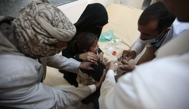 A girl is treated for a suspected cholera infection at a hospital in Sanaa, Yemen, Saturday, Jul. 1, 2017. The World Health Organization says a rapidly spreading cholera outbreak in Yemen has claimed 1500 lives since April and is suspected of infecting 246,000 people. (AP Photo/Hani Mohammed)