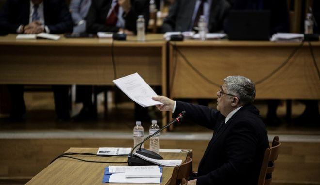 Απολογία του επικεφαλής του κόμματος Νίκου Μιχαλολιάκου στην δίκη της Χρυσής Αυγής την Τετάρτη 6 Νοεμβρίου 2019, στην αίθουσα του Εφετείου Αθηνών. Ο Ν. Μιχαλολιάκος απολογήθηκε ενώπιον των δικαστών και των παραγόντων της δίκης για το αδίκημα της ένταξης σε εγκληματική οργάνωση που βαρύνει όλα τα πολιτικά στελέχη της Χ.Α. που είχαν εκλεγεί βουλευτές το 2012. (EUROKINISSI/ΣΩΤΗΡΗΣ ΔΗΜΗΤΡΟΠΟΥΛΟΣ)