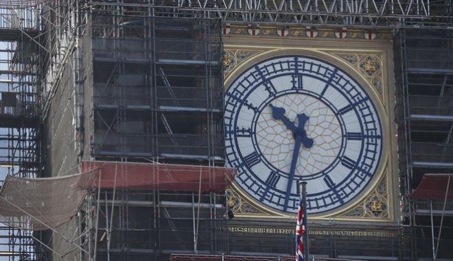 Το Big Ben κατά τη διάρκεια των εργασιών.