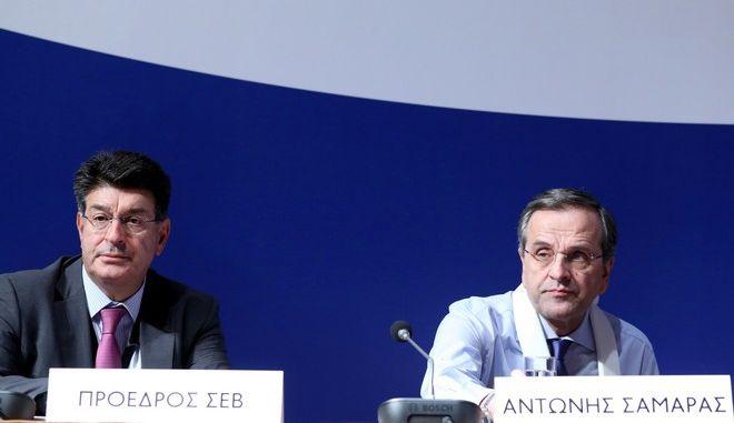 Ο πρόεδρος της Νέας Δημοκρατίας Αντώνης Σαμαράς στην ομιλία του στην Ετήσια Τακτική Γενική Συνέλευση των Μελών του ΣΕΒ, στο Μέγαρο Μουσικής Αθηνών την Δευτέρα 18 Μαΐου 2015. (EUROKINISSI/ΓΕΩΡΓΙΑ ΠΑΝΑΓΟΠΟΥΛΟΥ)