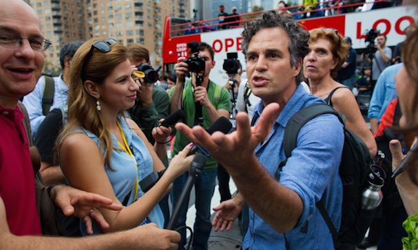 Actor and activist Mark Ruffalo takes questions before the start of the People's Climate March in New York Sunday, Sept. 21, 2014. Thousands of people from across the nation are expected to participate in what's billed as the largest march ever on global warming. (AP Photo/Craig Ruttle)
