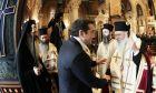 Ο Αρχιεπίσκοπος και ο πρόεδρος του ΣΥΡΙΖΑ. Φωτό αρχείου.