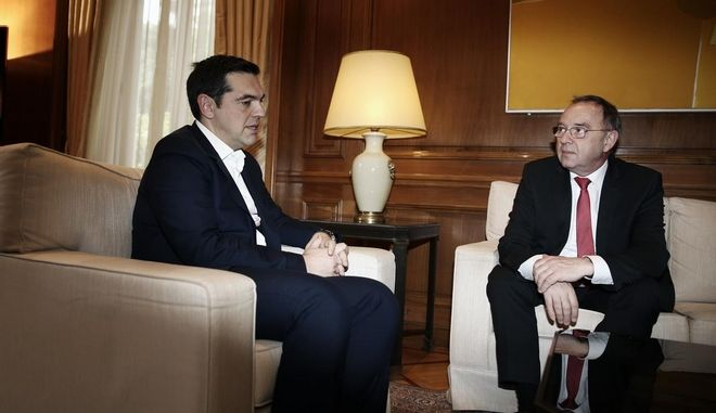 Greece's Prime Minister Alexis Tsipras meets the Minister of Finance of North Rhine - Westphalia, Norbert Walter-Borjans at Maximos Mansion, in Athens, Greece on January 16, 2016. /              - ,   ,  , , 16  2016.
