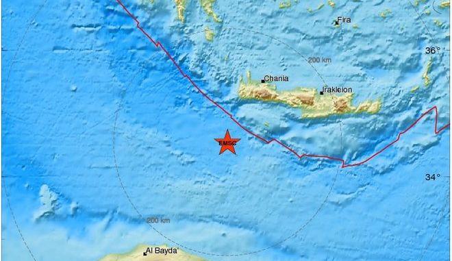 Σεισμός 4,7 Ρίχτερ νότια της Κρήτης