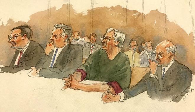 O Jeffrey Epstein στο δικαστήριο