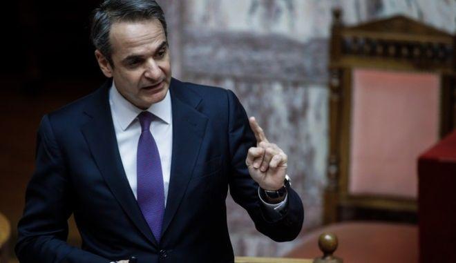 Ο Κυριάκος Μητσοτάκης στην Ολομέλεια της Βουλής για την κυβερνητική πολιτική σχετικά με τη διαχείριση της πανδημίας, την Παρασκευή 15 Ιανουαρίου 2021