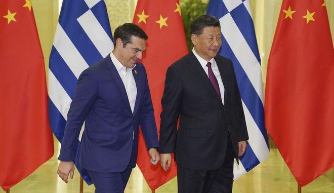 Στιγμιότυπο από την επίσκεψη του πρωθυπουργού, Αλέξη Τσίπρα, στο Πεκίνο