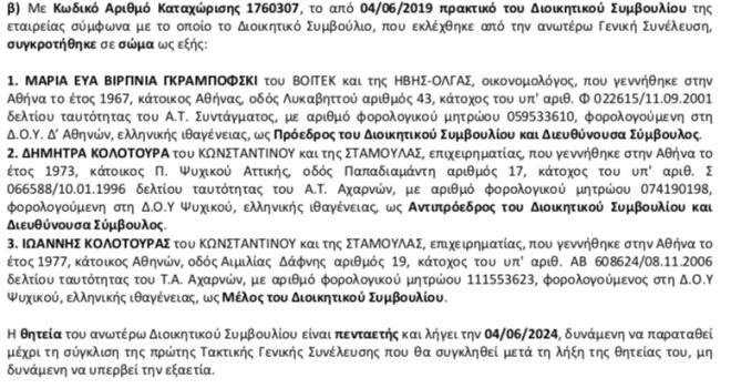 Εκτός Zeus + Dione η Μαρέβα Μητσοτάκη. Το πρακτικό της απόφασης