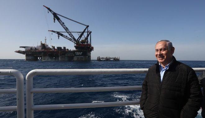 Ο Νετανιάχου μπροστά σε πλατφόρμα φυσικού αερίου