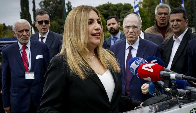Η πρόεδρος του Κινήματος Αλλαγής Φώφη Γεννηματά κάνει δηλώσεις μετά το τέλος της στρατιωτικής παρέλασης για την επέτειο της 25ης Μαρτίου 1821, στην Αθήνα την Κυριακή, 25 Μαρτίου 2018.