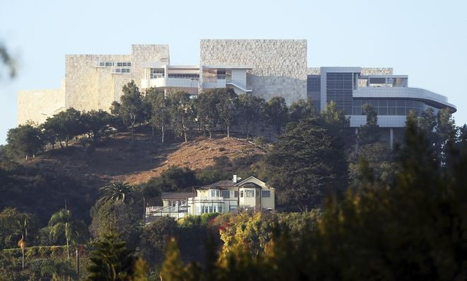 The Getty Center is seen after a wildfire swept through Los Angeles' Bel Air neighborhood Wednesday, Dec. 6, 2017. The Getty Center, the $1 billion home to the J. Paul Getty Museum and related organizations, stands on the west side of Sepulveda Pass. The fire did not immediately cross the wide expanse of the pass to the Getty side, but if it had, the facility is prepared. (AP Photo/Reed Saxon)
